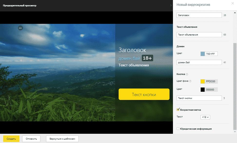 Пример редактирования видеообъявления в Яндекс.Директ